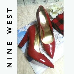 Sexy Pointy toe Heels Red Patent NINE WEST 7M